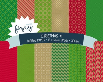 12 x  Christmas Xmas Theme Pattern Digital Paper Clipart  with Instant Download. MPM0011