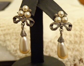 Sterling Silver and Simulated Pearl Drop Earrings for pierced ears