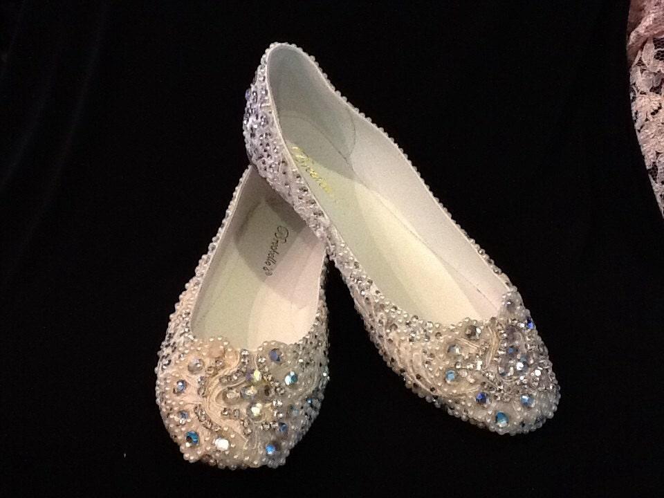 Wedding Shoes Bridal Flats Beaded Rhinestones Hand Embellished
