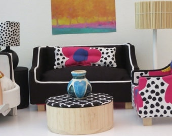 Barbie Black Sofa with White Piping