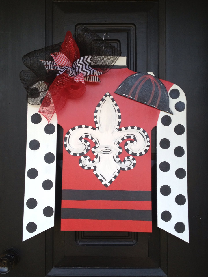 Large Kentucky Derby Jockey Silk Door Hanger Wreath