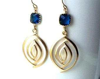 Dark Blue Gold Earrings, Almond Shape Gold Navy Crystal Earrings