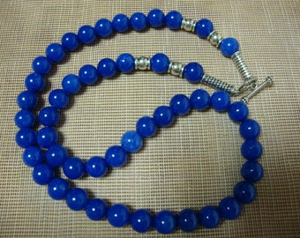 """Vintage Beaded Women Necklace Sky Blue Chalcedony Round Silver Plated Toogle Clasp Long 17.5"""""""
