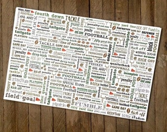 Football Phrases Paper Placemats - Pack of 8