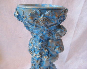 Blue cherub candle holder, distressed candle holder, pillar candle holder, french nordic shabby decor