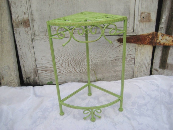 Lime Green Metal Corner Table Distressed Table By