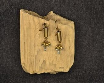 Earrings labradorite and brass Drops