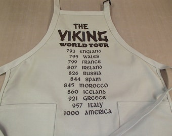 Embroidered Swedish Norwegian Danish Viking World Tour on Khaki or Black Apron #A5000