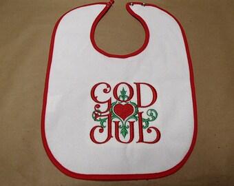 Scandinavian Embroidered Baby Bib -  God Jul Scroll & Heart #B90