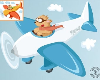 "Wall decal ""dog Boo on airplane"" personalized wall decal for nursary with color selection and name"