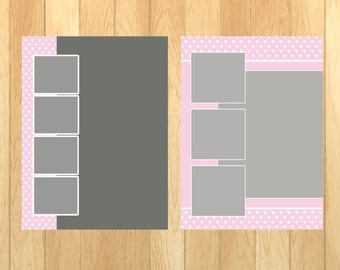 8 x 10  Collage Template for Photos (Scrapbooking, Photographs and More)  Set of 2
