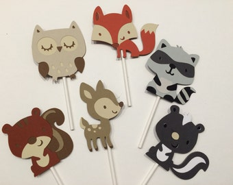 12 Woodland Cupcake Toppers; Forest cupcake toppers