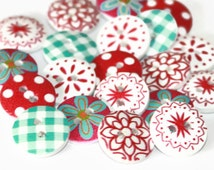 20 Mixed Wood 15mm Buttons - Spots Gingham and Floral Flowers - Blue Pink White and Red - Round Wood Button - Christmas Buttons - PW57