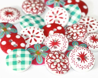 15 Mixed Wood 15mm Buttons - Spots Gingham and Floral Flowers - Blue Pink White and Red - Round Wood Button - Christmas Buttons - PW57