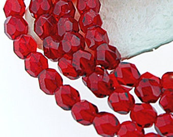 Ruby Red 4mm Fire polished Faceted Round Czech Glass Firepolish Beads x 50
