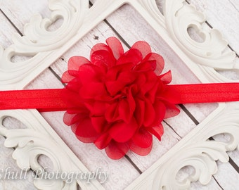 Baby Headband, Red Chiffon headband, Red Baby Headband, Red Flower Girl Headband, Baby Girl Headband, Wedding Red Headband, Infant Headband