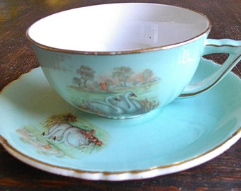 "Elegant "" Petit- Déjeuner "" , large cup tee with saucer , Swans decor , Signed "" Orchies - Moulin des Loups"""