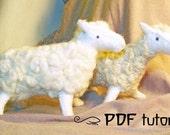 DIY Felt Sheep Making Pattern, felt animal, felt animal tutorial in a PDF file