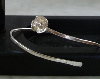 Sterling Silver open bangle bracelet with flower