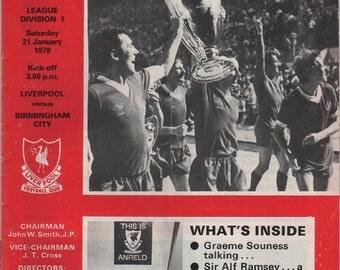 Vintage Football Programme - Liverpool v Birmingham City, 1977/78 season
