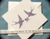 Valentines Swallows 'True Love' Wedding, Engagement, Anniversary Card 'True Love' Swallow Birds, Blank inside, can be personalised