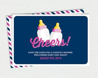 "Printable ""Cheers"" Baby Shower Postcard - Baby Shower Invitation"