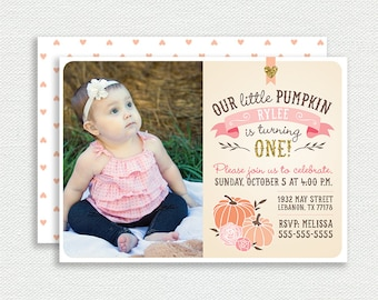 Our Little Pumpkin Photo Invitation - Birthday Invitation