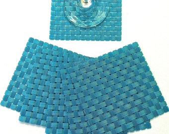 Set of Six Woven Vinyl Coasters in Turquoise Teal