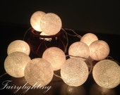 Cotton Ball Lights for home decoration,wedding patio,indoor string lights,bedroom fairy lights,20,35 pieces , white tone