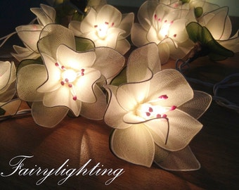 20x White Lotus with Leaf  Flower Fairy String Lights Hanging Wedding Lights,Bedroom fairy lights,Home Decoration,Party Lights,Indoor Lights