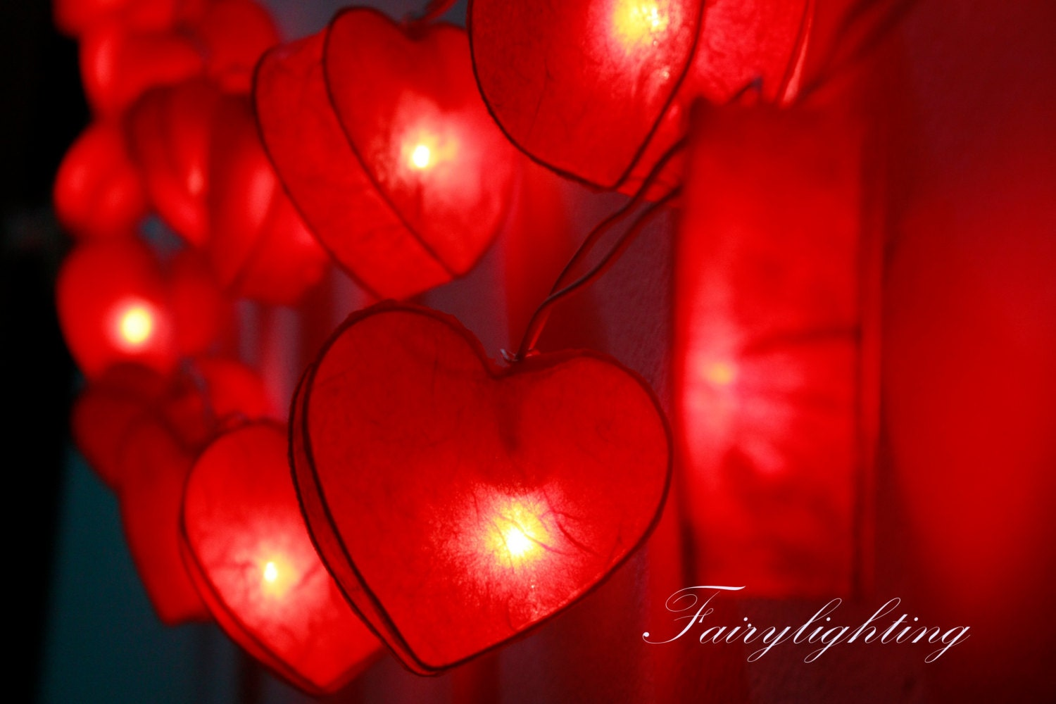 Heart String Lights Red : String Lights-20 Romantic Heart Red Color Paper by fairylighting
