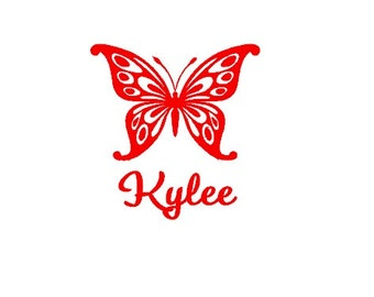 """Monogram Car Decal 5"""" - Butterfly"""