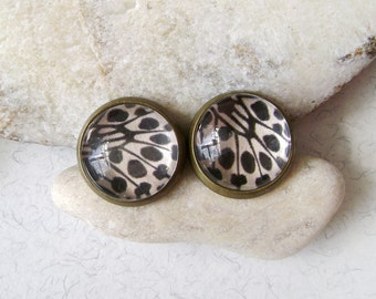 Stud earrings leopard butterfly . Earrings butterfly wing . Stud earrings butterfly .
