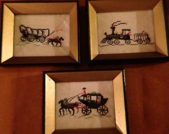 Nice Vintage Set of Three Needlepoint Colonial Designed Pictures