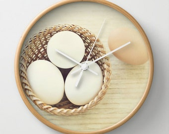 Eggs in a Basket Wall Clock, Photo Wall Clock, Modern Wall Clock, Home Decor, Round Clock, Kitchen Wall Clock