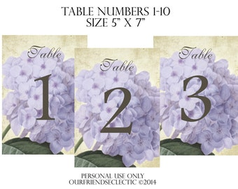 Digital download printable wedding party table numbers 1-10 shabby lilac hydrangea vintage you print