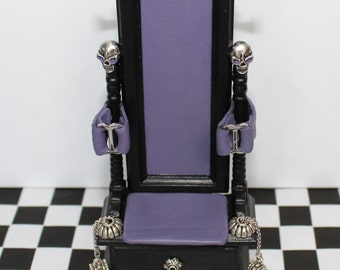 Purple leather gothic bondage fetish chair made to 1 12th scale