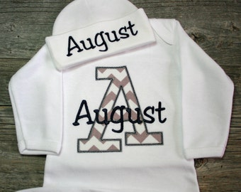 Chevron Personalized Infant Baby Gown Layette or Bodysuit with Beanie Hat Appliqued and Monogrammed Baby Boy Girl Coming Home Outfit
