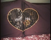 His and Hers Embroidered Mossy Oak Pillow Case set