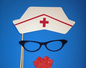 Photo Booth Props - Nurse Hat - Photo Booth 3 Piece Set