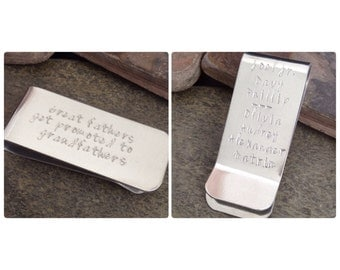 Hand Stamped Aluminum Personalized Money Clip - Groomsmen, Father's Day, Dad, Grandpa