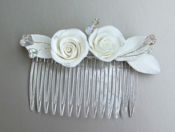 Hair flowers, hair decoration, hair accessories, comb, white roses