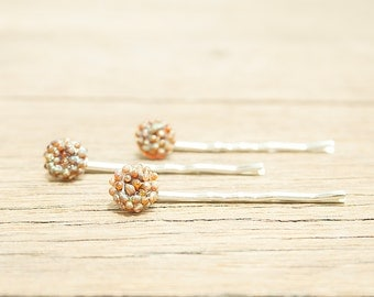 Caramel Glass Bobby Pins - Unique, Handmade, and OOAK