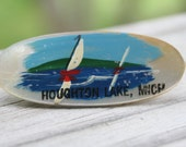 Vintage Houghton Lake Michigan souvenir Mother of Pearl hand painted nautical pin