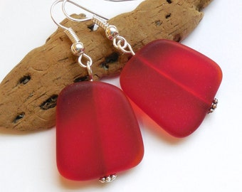 Large Red Beach Glass Earrings, Red Seaglass Earrings, Red Seaglass Jewelry, Red Sea Glass Earrings. Sterling Silver Option. FREE SHIPPING