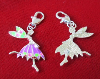 """5pc clip-on """"dancing girl"""" charms in antique silver style (BC302)"""