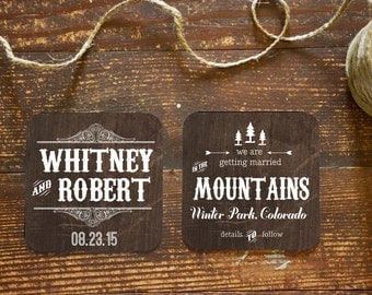 Save the Date Coaster, Rustic In The Mountains with natural twine and printed envelope