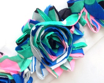 Shabby Rose Flower Trim--Abstract Preppy Colors
