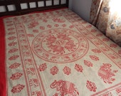 Hippe Mandala Bedspread, Elephant Mandala, Cotton Bed Spread/Bed linen- Single bedsheet with Indian motifs,Indian bedspread,ethnic bed cover