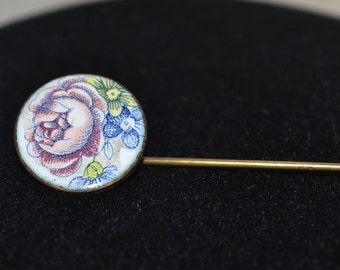 Vintage Pin Brooch Purple Flower Enamel Hat Pin